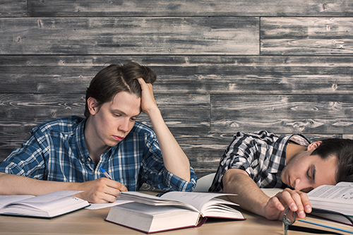 Young men tired of studying