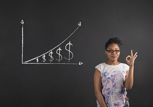 African woman with perfect hand signal with a growing money graph on blackboard background